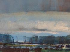 MICHAEL BARNFATHER (1934-) BLUE SKY LANDSCAPE, SIGNED OIL ON BOARD. 40 x 80cms.