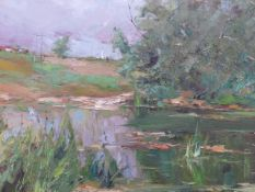 ALEXANDER KOLOTILOV. (RUSSIAN 1946-) A LAKE SCENE, SIGNED AND INSCRIBED ON REVERSE, OIL ON CANVAS.