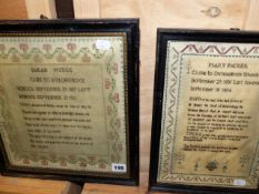 TWO EARLY 19th.C.VERSE SAMPLERS, DONE IN DUNCHIDEOCK, ONE BY MARY PACKER , THE OTHER BY SARAH MUDGE.