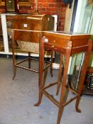 A FINE ASPREY'S, LONDON INLAID BURL WALNUT TAMBOUR DOME TOP ART DECO SEWING STAND WITH STRETCHERED
