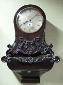 A WM.IV.MAHOGANY BRACKET CLOCK. BALLOON FORM CASE WITH CARVED DECORATION, SILVERED, UNSIGNED DIAL,