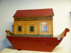 A GOOD LARGE TOY NOAH'S ARK WITH PAINTED DECORATION TOGETHER WITH A LARGE QUANTITY OF COMPOSITION