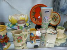 A COLLECTION OF VARIOUS CLARICE CLIFF CHINAWARES.