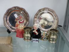 A DOULTON FIGURE BUZFUZ, TWO SILVER PLATED TRAYS,ETC.