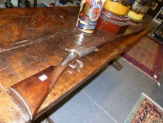 A RARE 8 BORE FOWLING GUN, THE BACKLOCK SIGNED LACOUTURE ARQer A LYON. 129cms DAMASCENE BARREL