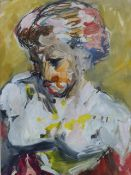 HENRYK GOTLIB (1890-1966) BUST OF A GIRL WATERCOLOUR 35.5 x 25.5cms AND ANOTHER OF WHITE OXEN BY THE