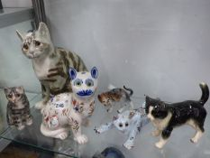 TWO WINSTANLEY CAT FIGURINES AND VARIOUS OTHERS.