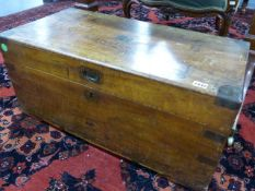A 19th.C.SMALL CAMPAIGN CAMPHORWOOD CHEST WITH INSET BRASS BINDINGS. W.73cms.