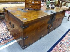 A LARGE ORIENTAL INLAID IRON MOUNTED COFFER WITH FLANKING CARRYING HANDLES. W.140 D.74 H.53cms.