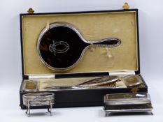 TWO TORTOISE SHELL AND HALLMARKED SILVER INLAID JEWELLERY BOXES TOGETHER WITH A CASED FIVE PIECE