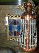 TWO VINTAGE EARLY 20th.C.STAINED ARTS AND CRAFTS GLASS LIGHT FIXTURES, A COPPER FRAMED TAPERED