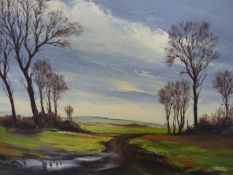 REUBEN MORING (20th.C.) AFTER WINTER RAIN, ALTHORPE, ESSEX. SIGNED OIL ON BOARD. 35.5 x 45.5cms.