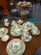 A MASON'S POTTERY FRUIT BASKET PATTERN PART DINNER SERVICE TO INCLUDE SERVING DISHES, TEA AND COFFEE