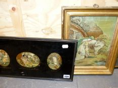 THREE OVAL SILKWORK PICTURES OF CHLDREN, MOUNTED AS ONE, IN AN EGLOMISE FRAME TOGETHER WITH A