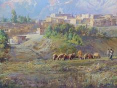 ABD-AL HOSSAIN MOHSENI. (IRANIAN 20th/21st.C.) A VILLAGE IN THE MOUNTAIN FOOTHILLS, SIGNED OIL ON