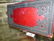 AN ANTIQUE LEUCHARS OF PICADILLY LEATHER FOLDING GAMES BOARD WITH GILT TOOLED DECORATION AND