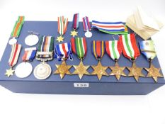 A KASHMIR 1948 MEDAL AND BAR, SIX VARIOUS WWII STARS AND MINIATURE TOGETHER WITH A QUANTITY OF