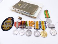 AN INTERESTING FAMILY MEDAL GROUP TO INCLUDE THREE BAR QSA TO 5756 PTE. J SEYMOUR, DERBY REGT.-
