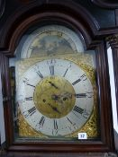 "A GOOD 19th.C. MAHOGANY CASED 8 DAY LONG CASE CLOCK WITH 13"" ARCH BRASS DIAL, SUBSIDIARY MOON PHASE,"