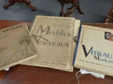 THREE 1930'S FRENCH FOLIOS OF LOOSE PLATES DEPICTING STAINED GLASS DESIGNS.