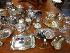 A LARGE COLLECTION OF SILVERPLATED WARES TO INCLUDE BISCUIT BOXES,ETC.
