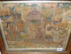 A 17th/18th.C.NEEDLEWORK PICTURE OF A KING AND QUEEN WITH ATTENDANTS, THE CENTRAL FIGURES UNDER A