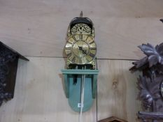 "AN EARLY LANTERN CLOCK IN BRASS FRAME CASE. 6.5"" DIAL SIGNED JOHN GREEN FECIT, LONDON MOUNTED ON"