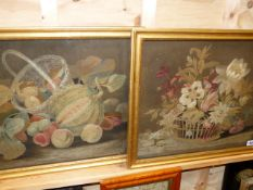 A PAIR OF ANTIQUE FELT AND SILWORK PICTURES OF STILL LIFE SUBJECTS, ONE OF FLOWERS IN A BASKET,