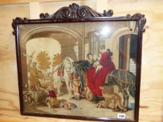 A VICTORIAN FINE NEEDLEPONT PANEL OF THE HUNTING PARTY IN CARVED ROSEWOOD FRAME, OVERALL 50 x