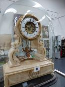 A VICTORIAN WHITE METAL MANTLE CLOCK WITH CHERUB SWING PENDULUM, WHITE ENAMEL CHAPTER RING WITH