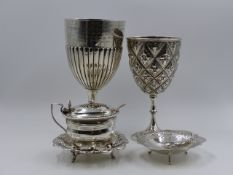VARIOUS SILVER HALLMARKED PIECES TO INCLUDE TWO PRESENTATION GOBLETS, A MUSTARD AND SPOON, AND TWO