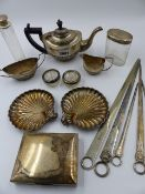 A HALLMARKED SILVER BACHELOR'S TEA SET, VARIOUS SILVER PLATED SKEWERS, A SILVER CIGARETTE BOX, ETC.