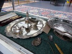 A PAIR OF CASED HALLMARKED PICKLE FORKS, A WHITE METAL TRAY, A SILVER SIFTER, A CADDY SPOON, ETC.