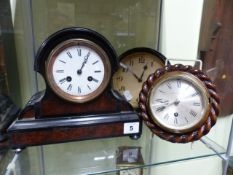 A SMALL VICTORIAN STRIKING MANTLE CLOCK IN EBONISED AND WALNUT CASE TOGETHER WITH A SMALL WALL CLOCK