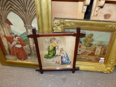 THREE VICTORIAN NEEDLEPOINT PANELS, A CLASSICAL LANDSCAPE, THE ARCHANGEL AND MARY TOGETHER WITH