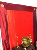 A JAPANESE RED SILK PANEL OR WALL HANGING. 250 x 180cms.