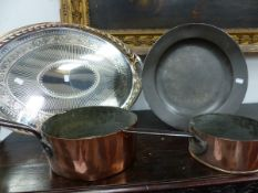 TWO ANTIQUE COPPER SAUCEPANS TOGETHER WITH AN ELKINGTON SILVER PLATE OVAL TRAY AND AN ANTIQUE PEWTER