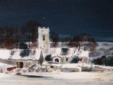 MICHAEL BARNFATHER (1934-) HAMPNETT, NEAR NORTH LEACH, SIGNED OIL ON BOARD. 30 x 106cms.
