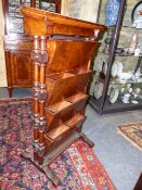 A RARE AND UNUSUAL VICTORIAN BURL WALNUT ADJUSTABLE CAMPAIGN OFFICE/DOCUMENT STAND. FOLDING TOP WITH