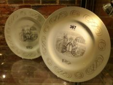 A PAIR OF 1950'S WEDGWOOD PLATES DECORATED WITH TINTERN ABBEY DESIGNED BY LAURENCE WHISTLER FROM THE