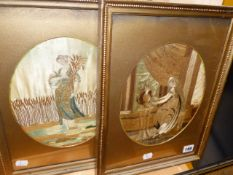 TWO REGENCY OVAL SILKWORK PICTURES OF CLASSICAL MAIDENS. 25 x 21cms.
