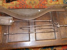 A GOOD 18th.C.GEORGIAN STEEL FIRESIDE TOOL SET WITH KNOP TURNED AND CUT STEEL DECORATION, THE