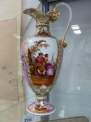 A HAND PAINTED VIENNA EWER.