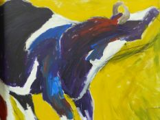 J.A.DUCKWORTH (20th/21st.C.) STUDY OF A COW, SIGNED GOUACHE, UNFRAMED. 51x64cms.