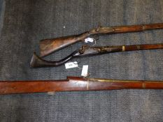 AN ANTIQUE EASTERN PERCUSSION LONG GUN, A FULL STOCK PERCUSSION GUN AND AND INDIAN MATCHLOCK RAMPART