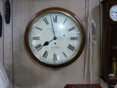 "A 19th.C.MAHOGANY CASED DIAL WALL CLOCK WITH PAINTED 12"" DIAL SIGNED SAVORY & SONS, CORNHILL,"