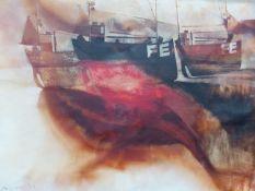 MARTIN AYNSCOMB (b.1937) (ARR) FELIXSTOWE TRAWLERS, SIGNED OIL ON CANVAS. 90 x 121cms.