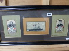 A GROUP OF THREE CASH'S TYPE SILKWORK PICTURES OF NAVAL INTEREST TOGETHER WITH AN EARLY PHOTOGRAPH