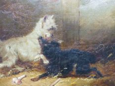 ATTRIBUTED TO GEORGE ARMFIELD (MID 19th.C.) TWO SCENES OF DOGS, OIL ON CANVAS. 20.5 x 25cms (2)