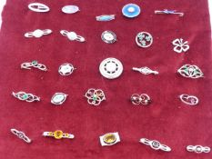 TWENTY- FIVE VARIOUS CHARLES HORNER SILVER AND WHITE METAL BROOCHES.